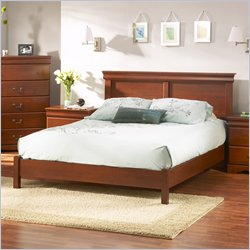 South Shore Vintage Queen Platform Bed Set in Classic Cherry Finish