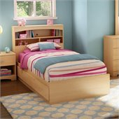 South Shore Shiloh Kids Twin Bookcase Storage Bed Set in Natural Maple Finish