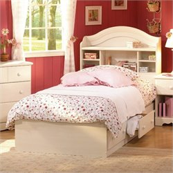 South Shore Summer Breeze Twin Bookcase Headboard and Storage Bed in White Wash
