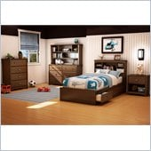 South Shore Nathan Kids Twin Mates Bed 5 Piece Bedroom Set in Sumptuous Cherry Finish