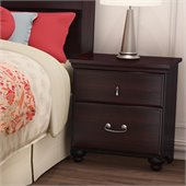 South Shore Dover Traditional 2 Drawer Nightstand in Dark Mahogany Finish