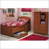 South Shore Imagine Kids Twin Captain's Bed 2 Piece Bedroom Set in Morgan Cherry Finish