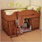 South Shore Imagine Kids Loft Bed 4 Piece Bedroom Set in Morgan Cherry Finish