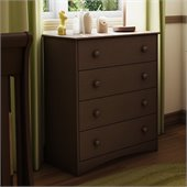 South Shore Furniture Angel 4 Drawer Chest in Espresso Finish