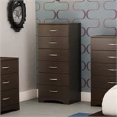 South Shore Back Bay Single 6 Drawer Lingerie Chest in Chocolate Finish