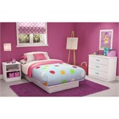 South Shore Libra Kids Pure White Twin Wood Platform Bed 3 Piece Bedroom Set