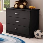 South Shore Libra Kids 3 Drawer Chest in Pure Black Finish