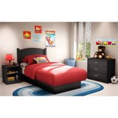 South Shore Libra Kids Pure Black Twin Wood Platform Bed 3 Piece Bedroom Set