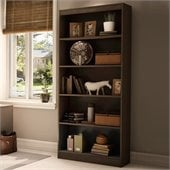 South Shore Axess 5 Shelf 71H Wood Bookcase in Chocolate
