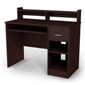 South Shore Axess Small Wood Computer Desk with Hutch in Chocolate