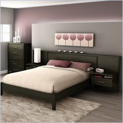 South Shore Gravity Queen Platform Bedroom Set in Ebony Finish
