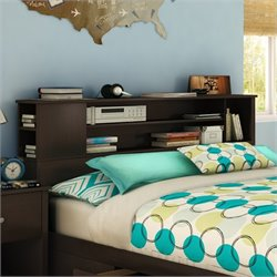 South Shore Breakwater Full / Queen Bookcase Headboard in Brown