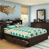 South Shore Breakwater Queen Bookcase Storage Bed in Chocolate Finish