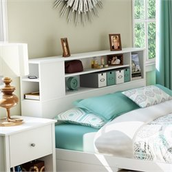 South Shore Breakwater Full / Queen Bookcase Headboard in White