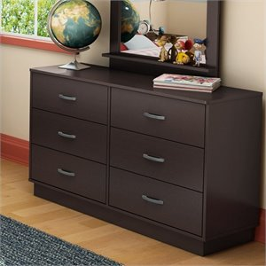 South Shore Logik 6 Drawer Double Dresser in Chocolate Finish
