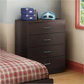 South Shore Logik 4 Drawer Chest in Chocolate Finish