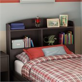 South Shore Logik Twin Bookcase Headboard in Chocolate Finish