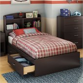 South Shore Logik Twin Bookcase Storage Bed in Chocolate Finish