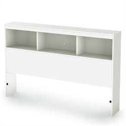 South Shore Affinato Full Bookcase Headboard in Pure White Finish