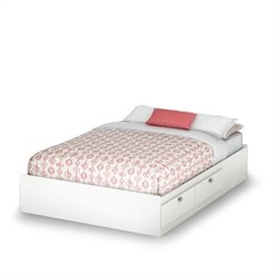 South Shore Affinato Full Mates Storage Bed Frame Only in Pure White Finish