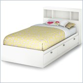 South Shore Affinato Twin Bookcase Storage Bed Set in Pure White Finish