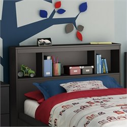 South Shore Affinato Twin Bookcase Headboard in Solid Black Finish