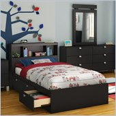 South Shore Affinato Twin Bookcase Storage Bed Set in Solid Black Finish