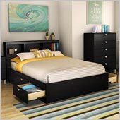 South Shore Affinato Full Bookcase Storage Bed Set in Solid Black Finish