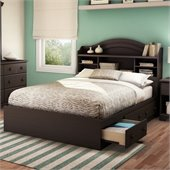 South Shore Summer Breeze Full Bookcase Storage Bed Set in Chocolate Finish