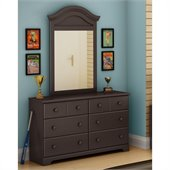 South Shore Summer Breeze 6 Drawer Double Dresser and Mirror Set in Chocolate Finish