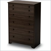 South Shore Newton 5 Drawer Shaker Style Chest in Moka Finish