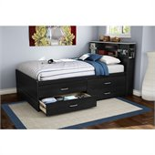 South Shore Cosmos Contemporary Full Captain's Bed with Bookcase Headboard in Black Onyx
