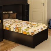 South Shore Logik Twin Bed Frame Only on Casters in Chocolate Finish