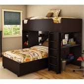 South Shore Logik Twin over Twin Loft Bunk Bed in Chocolate Finish