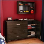 South Shore McLaren 3 Drawer Single Dresser in Mocha