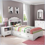 South Shore Sabrina 2 Piece Twin Bookcase Bedroom Set in Pure White