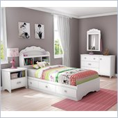 South Shore Sabrina 4 Piece Twin Bookcase Bedroom Set in Pure White