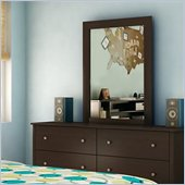 South Shore Breakwater Dresser and Mirror Set in Chocolate