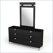 South Shore Affinato Dresser and Mirror Set in Black