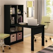 South Shore Annexe Work Table and Storage Unit Combo in Pure Black