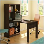 South Shore Annexe Work Table and Storage Unit Combo in Mocha