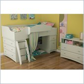 South Shore Imagine Kids 2 Piece Bedroom Set in Pure White