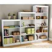 South Shore 3 Piece Bookcase Set in Pure White