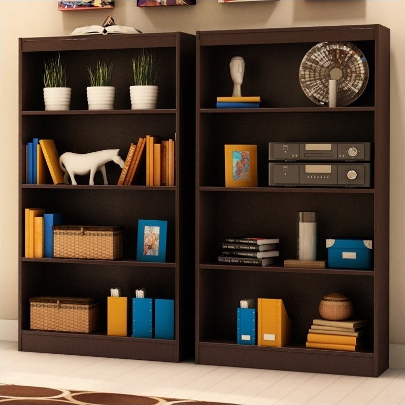 Vintage 2 Piece 4 Shelf Wall Bookcase Set in Chocolate