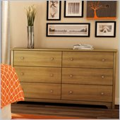 South Shore Breakwater 6 Drawer Double Dresser in Harvest Maple
