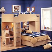 South Shore Newton L-shaped Wood Twin Over Twin Loft Bunk Bed in Natural Maple Finish
