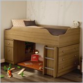South Shore Treehouse Twin Loft Bed in Harvest Maple