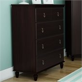 South Shore Moonlight 4 Drawer Chest in Dark Mahogany