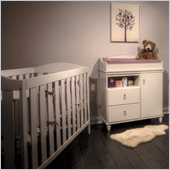 South Shore Moonlight Crib and Changing Table Set in Pure White