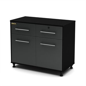 South Shore Karbon Base Storage Cabinet in Pure Black and Charcoal